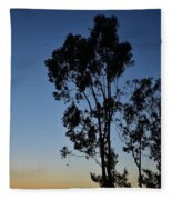 Blue And Gold Sunset Tree Silhouette I Fleece Blanket
