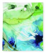 Blue And Green Abstract - Land And Sea - Sharon Cummings Fleece Blanket