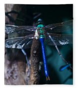 Blue And Green Dragonfly Fleece Blanket