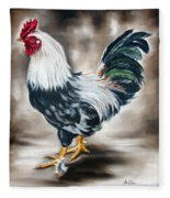 Blue And Green Rooster Fleece Blanket