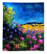 Blue And Pink Flowers Fleece Blanket