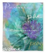 Blue And Purple Peony Fleece Blanket