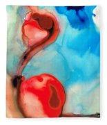 Blue And Red Art - Crimson Dance - Sharon Cummings Fleece Blanket