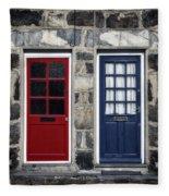Blue And Red Doors Fleece Blanket
