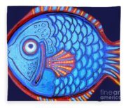 Blue And Red Fish Fleece Blanket