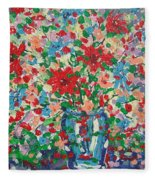 Blue And Red Flowers. Fleece Blanket