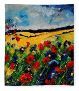 Blue And Red Poppies 45 Fleece Blanket