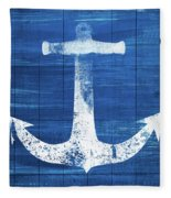 Blue And White Anchor- Art By Linda Woods Fleece Blanket