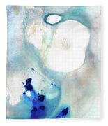 Blue And White Art - A Short Wave - Sharon Cummings Fleece Blanket
