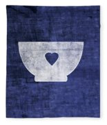 Blue And White Bowl- Art By Linda Woods Fleece Blanket