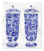 Blue And White Chinoiserie Vases Fleece Blanket