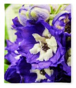 Blue And White Delphiniums Fleece Blanket