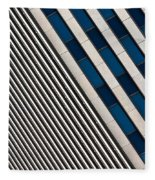 Blue And White Diagonals Fleece Blanket