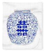 Blue And White Ginger Jar Chinoiserie 8 Fleece Blanket
