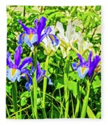 Blue And White Iris Fleece Blanket