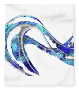 Blue And White Painting - Wave 2 - Sharon Cummings Fleece Blanket