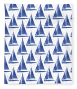 Blue And White Sailboats Pattern- Art By Linda Woods Fleece Blanket