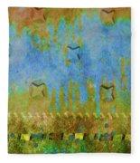 Blue And Yellow Abstract Fleece Blanket
