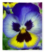 Blue And Yellow Pansy Fleece Blanket