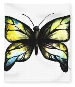 Blue And Yellow Watercolor Butterfly Fleece Blanket