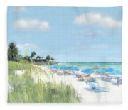 Blue Beach Umbrellas, Point Of Rocks, Crescent Beach, Siesta Key Fleece Blanket