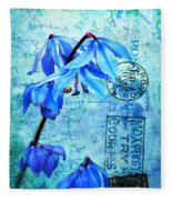 Blue Bells On Vintage 1936 Postcard Fleece Blanket