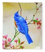 Blue Bird On Cherry Blossom  Fleece Blanket