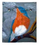 Blue Bird On Slate Fleece Blanket