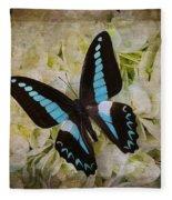 Blue Black Butterfly Dreams Fleece Blanket