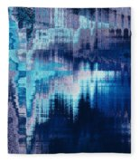 blue blurred abstract background texture with horizontal stripes. glitches, distortion on the screen broadcast digital TV satellite channels Fleece Blanket