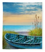 Blue Boat At Dawn Watercolors Painting Fleece Blanket