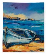 Blue Boat On The Mediterranean Beach Fleece Blanket