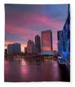 Blue Bridge Red Sky Jacksonville Skyline Fleece Blanket
