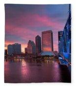 Blue Bridge Red Sky Jacksonville Skyline Fleece Blanket