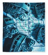 Blue Britain Bus Bill Fleece Blanket