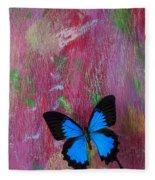Blue Butterfly On Colorful Wooden Wall Fleece Blanket