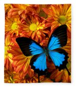 Blue Butterfly On Mums Fleece Blanket