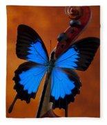 Blue Butterfly On Violin Fleece Blanket