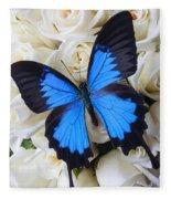 Blue Butterfly On White Roses Fleece Blanket