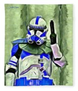 Blue Commander Stormtrooper At Work - Da Fleece Blanket