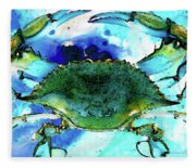 Blue Crab - Abstract Seafood Painting Fleece Blanket