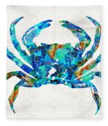 Blue Crab Art By Sharon Cummings Fleece Blanket