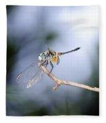 Blue Dasher Dragonfly Fleece Blanket