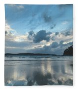 Blue Dawn Seascape With Cloud Reflections Fleece Blanket
