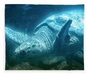 Blue Depths Sea Turtle Fleece Blanket