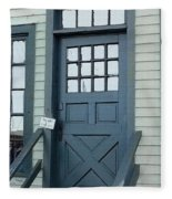 Blue Door At The Seaport Fleece Blanket