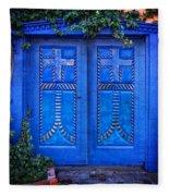 Blue Door In Old Town Fleece Blanket