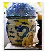 Blue Dragon And Hydrangeas Fleece Blanket