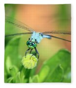 Blue Dragonfly And Bud Fleece Blanket