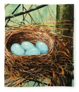 Blue Eggs In Nest Fleece Blanket